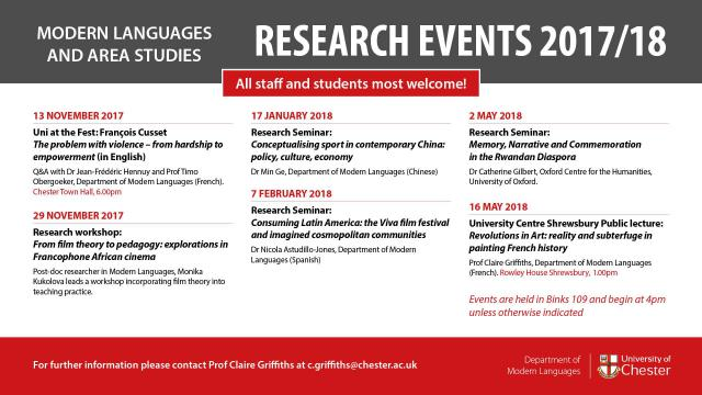 Modern Languages Research Events 17/18