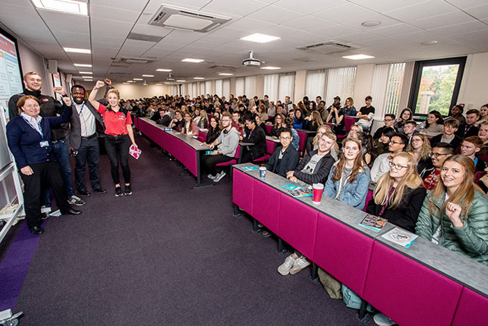 The latest cohort of students in the Department of Business and Finance enjoying their induction.