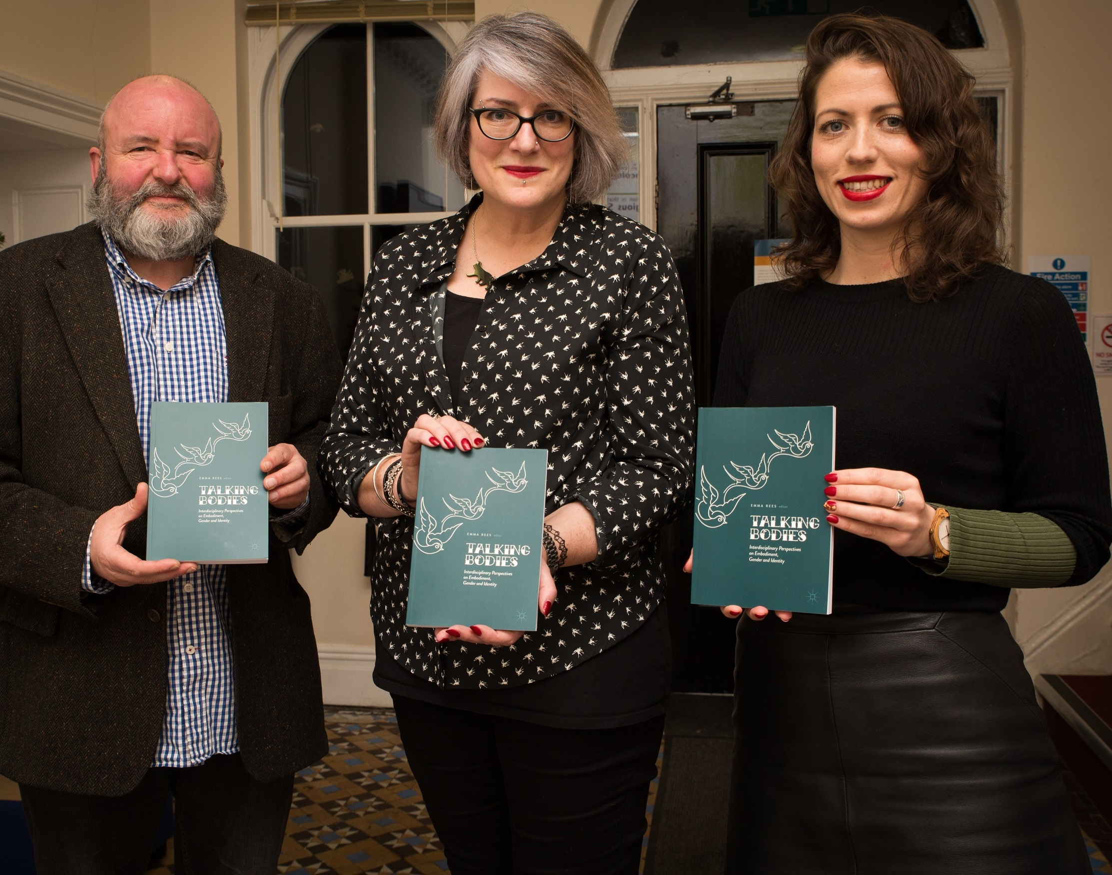 Editor Professor Emma Rees (centre), with contributors Dr Graham Atkin and Dr Abigail Tazzyman