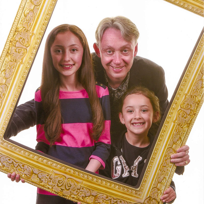 David with his daughters Maya and Olivia. Picture credit to Rebecca Lupton photography.