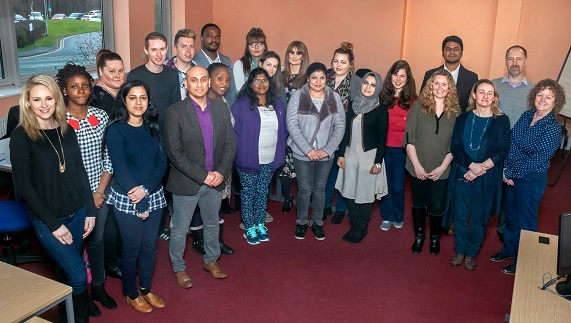 The students with Dr Vish Maheshwari and Professor Lawrence Bellamy (back row, far right).