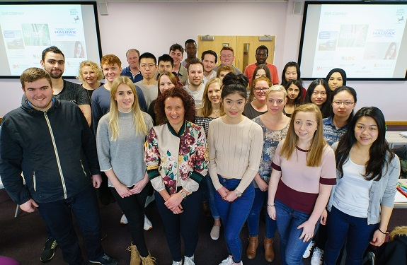 Caroline Cuthbertson, the Regional Director for Global Transaction Banking for Lloyds Bank Commercial Banking with students at the University of Chester's Business School.