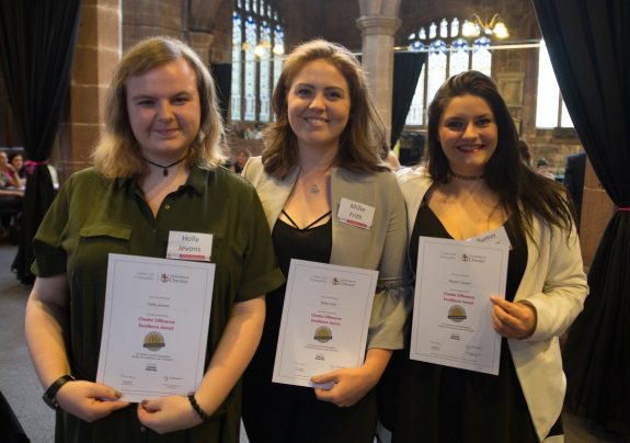 (L-R) Students Holly Jevons, Millie Frith and Rumer Cooper all of whom successfully completed the Chester Difference Excellence Award.