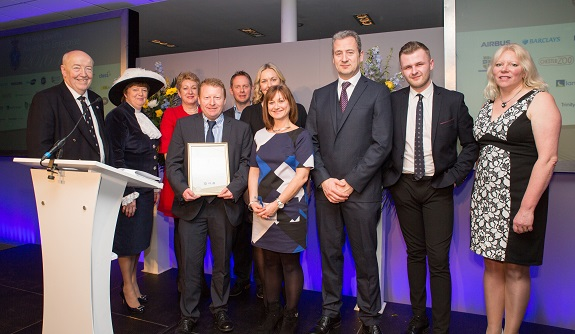 Winner High Sheriff's Awards for Enterprise 2016/17: Direct Food Ingredients. Also in the photo are Professor Phil Harris, University of Chester; High Sheriff of Cheshire, Kathy Cowell; Christine Gaskell, Chair Cheshire and Warrington LEP; Phil Brereton, LDF; Jo Challoner, O2.