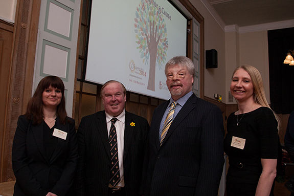 Equality Officer Natalie Clark, Vice-Chancellor Professor Tim Wheeler, Simon Weston OBE, HR Manager Kathryn Leighton.