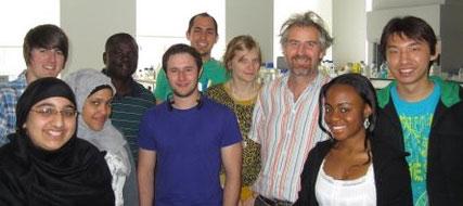 Professor Eustace Johnson - lab team