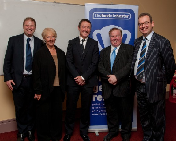 Paul Daniels, Chief Executive Officer of thebestofchester; Fran Hulbert, Chair of the Business Advisory Council; Robert Elstone, Chief Executive Officer of Everton Football Club; Professor Tim Wheeler, Vice-Chancellor of the University of Chester; Chris Pyke, Head of Chester Business School.