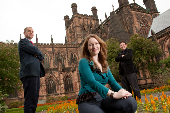 Dr Keith McLay, Head of History and Archaeology; Archaeology PhD student Ruth Nugent; Professor Howard Williams.