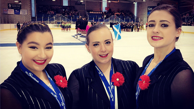 Left – right: Sofia Farrugia, Gina Rimmer and Alice Williamson at the Trophy d'Ecosse.
