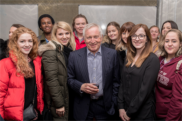 Events Management students with Jonathan Dimbleby.
