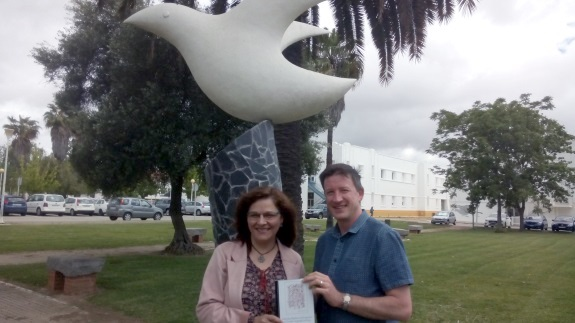 Dr Maria Carmen Fonseca-Mora and Dr Mark Gant (from the University of Chester) pictured outside the University of Huelva.