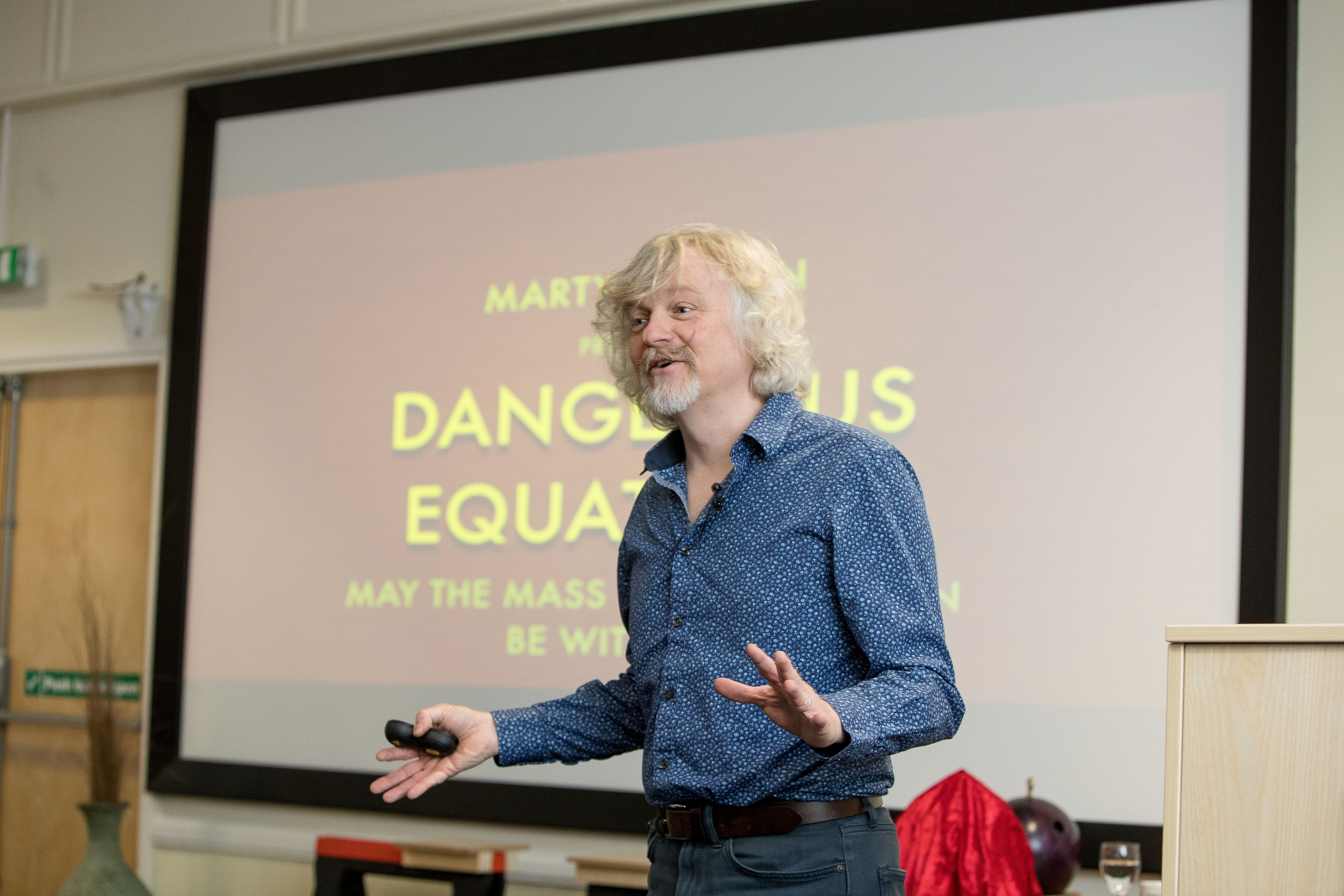 Marty Jopson presenting the Christmas lecture at Thornton Science Park