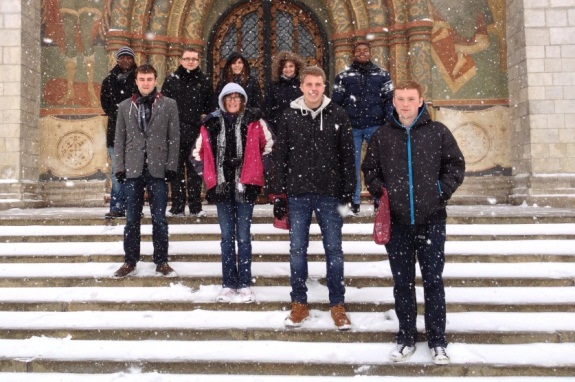 The Mission Moscow team on the steps of the Assumption Cathedral, Moscow