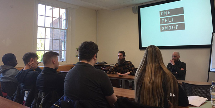 Staff from One Fell Swoop gave a presentation to students at the Business School.