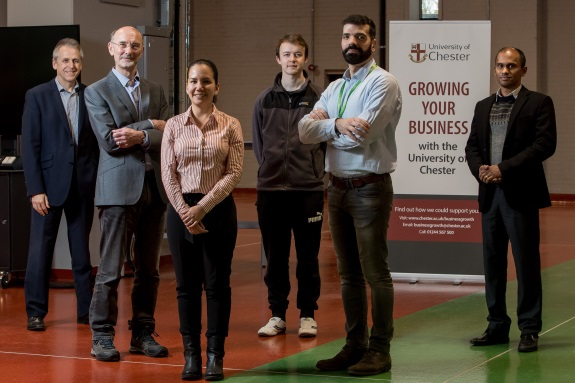 Pictured in the University's Energy Centre are, left to right: Jim Colston (Business Development Manager, University of Chester); Paul Willson (Director of PMW Technology and PMW Research), Dr Carolina Font-Palma (Senior Lecturer in Chemical Engineering), David Cann (PhD student), Georgios Lychnos (Post-Doctoral Research Associate, PMW Technology Ltd), Newsun Jose (Business Development Manager, University of Chester).