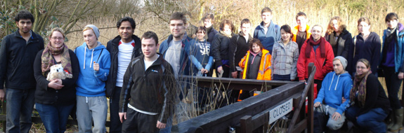 University of Chester students at a conservation activity day at Mere Sands Wood nature reserve in Lancashire.
