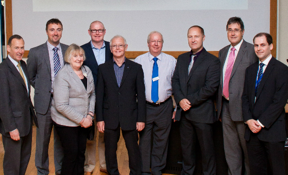 L – R -  Aidan Manley, Executive Director, Cheshire and Warrington LEP; David Stonley, Senior Manager, Peel Ports; Susan Spibey, Director, Birchwood Forum; Nick Smart, UK Supply Chain Director, Brakes Group; Brian Hardacre, CIPS; Neil Caldwell, CILT; Professor Bellamy; Peter Crompton, Direct BE Group and Chairman, Warrington & Co. and Phil Kerr, Business Development Manager, Warrington Collegiate.
