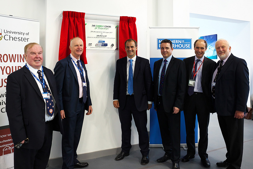 Left to right, the Vice Chancellor of the University of Chester, Professor Tim Wheeler; Professor Joe Howe, Executive Director and Professor of the Thornton Energy Research Institute at Thornton Science Park; the Minister for the Northern Powerhouse and Local Growth, Jake Berry MP; Paul Vernon, Senior Executive Director of Commercial Operations, and Chief Executive of Thornton Research Properties Limited; Philip Cox, Chief Executive of Cheshire and Warrington LEP; Andrew Miller, former MP, who was instrumental in the establishment of Thornton Science Park