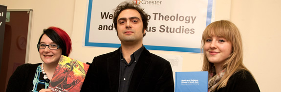 Fabrizio Ferrari and his two publications, and MA Religious Studies students Rose Smith and Lisa Tatlock