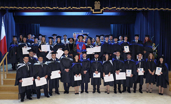 Global College Malta students, including 25 completing MScs and 11 completing MBAs, accredited by the University of Chester.