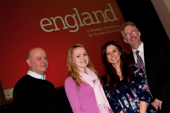Philip Evans of Visit England (left) with students Georgia Surridge and Krystal Twigger, and lecturer Colin Potts.