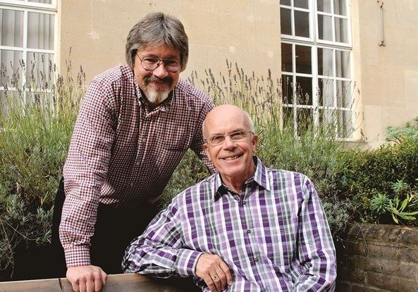 Alex Brychta MBE and Rod Hunt MBE, the award-winning illustrator and author of the Oxford Reading Tree series for children. Photograph: Oxford University Press.
