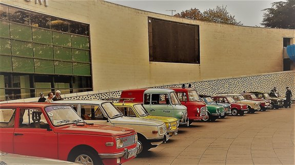 •	A selection of East German cars on display: photo credit: The Wartburg Trabant IFA Club in the UK.