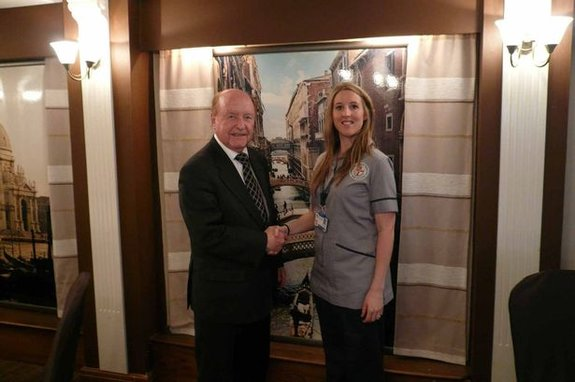 Student midwife Amy Oppermann with Gordon Vickers, of the Mill Hotel and Spa.