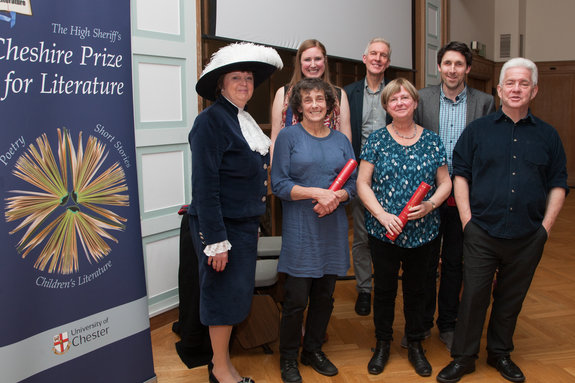Pictured are this year's winners with the High Sheriff, Mrs Kathy Cowell OBE, Head Judge, Dr Ian Seed and guest speaker Ian McMillan