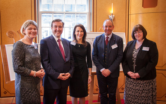 Julie Rowlett ILM, Business Manager (North); Chris Matheson, MP for Chester; Lisa Rowe, Senior Lecturer, Faculty of Business and Management; Nick Hodson, Chairman Chester Business Club and Professor Clare Schofield, Associate Dean, Faculty of Business and Management.