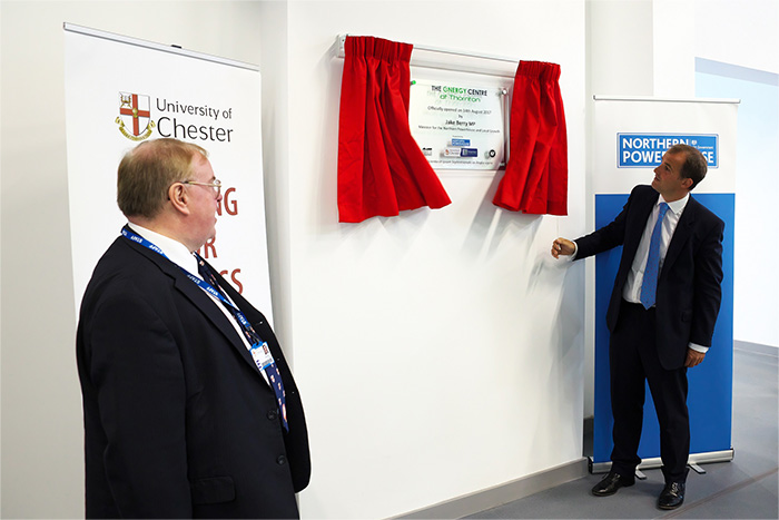 The Minister for the Northern Powerhouse and Local Growth, Jake Berry MP, officially opens the Energy Centre at Thornton with the Vice Chancellor of the University of Chester, Professor Tim Wheeler, looking on